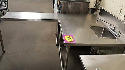 John Boos Stainless Steel L Shaped Work Area with Sink