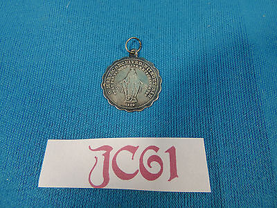 Vintage Antique Jewelry: 1830s Coin Silver Catholic Medal Madonna Mary JC61