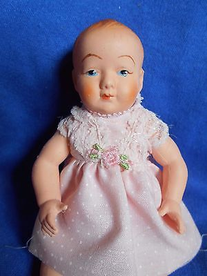 Vintage 1950s French Petitcolin Tiny Baby Doll Celluloid Exc Costume DH93