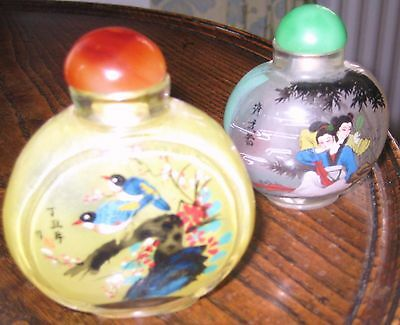 2 inside painted chinese snuff bottles signed