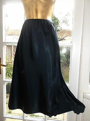 Vintage M&S Glossy Dark Navy Satin Embroidered Slip Petticoat Underskirt UK20