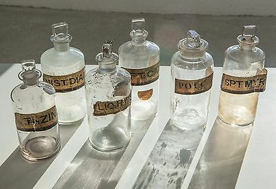 Set of 6 Large Antique Chemist / Medicine Bottles with Glass Labels - Apothecary