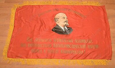 VINTAGE SOVIET RUSSIAN USSR Silk 2 side RED Flag LENIN Coat of arms 1977