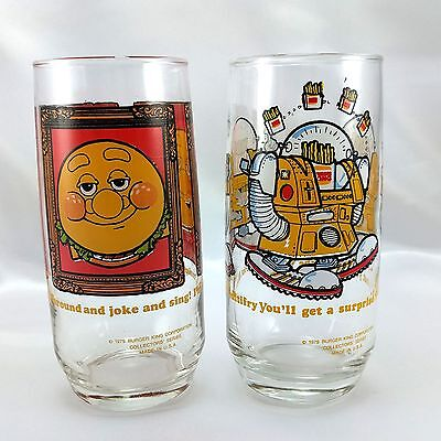 Burger King Burger Thing & Wizard of Fries Vintage 1979 Glasses Made in the USA
