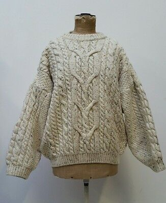 Mens Fred Perry Traditional Wool Fishermens Aran Style Jumper Speckled Cream L