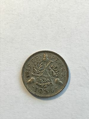 1934 - Silver - Three Pence - Great Britain - King George V Coin