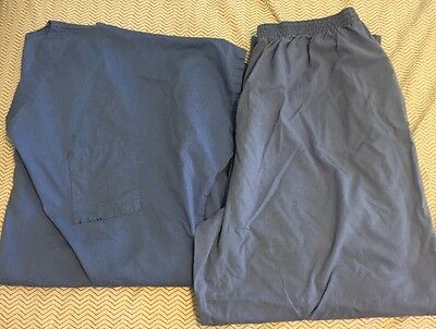 Lot Of Baby Blue Xx Large Scrubs Top & Bottom