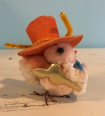 Vintage Easter Chick With Hat And Bow Tie, Pom Pom, Chenille, Wire