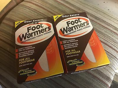 2 Packs Of Odor Eaters Deodorising Fleecy Foot Warmers One Size Fits All