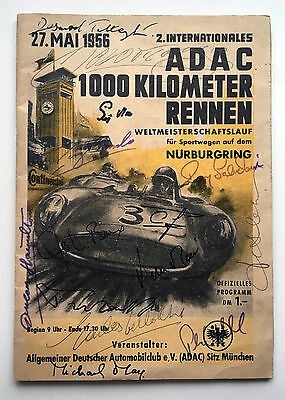 1956 Nurburgring 1000kms programme SIGNED Bonnier, Fangio, Casellotti, Taruffi++