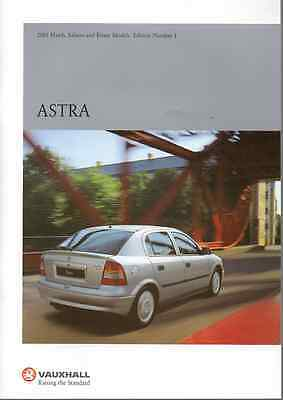 Vauxhall Astra Hatch, Saloon & Estate Models Ed No 1 2001 Brochure (B10)