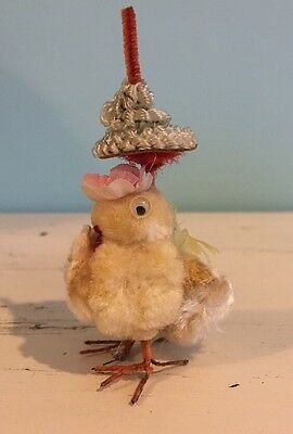 Vintage Easter Chick With Flower Hat, Parasol, Pom Pom, Chenille, Wire