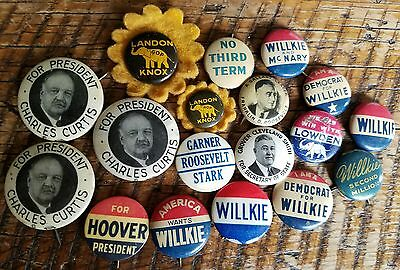 Vintage 1930's Election Campaign Political President Pin Back Buttons Lot