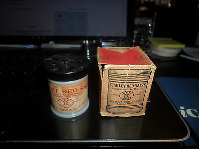 Vintage Ad 1920's Scarlet Red Salve Medical Ointment Milk Glass Jar Original Box