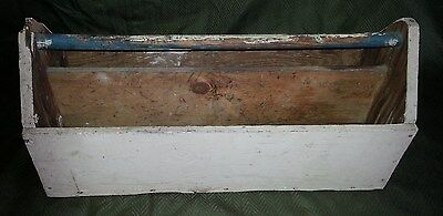 Vtg Antique Hand Made Wood Primitive Tool Box Tote Carrier W/ Handle Very Old