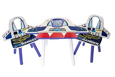 Disney Toy Story Buzz Lightyear Rocket Wooden Childs Table & Chairs Kids Bedroom