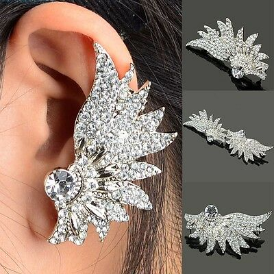 2017 New Women Elegant Crystal Rhinestone Ear Stud Wing Earrings Fashion Jewelry