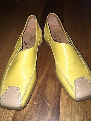 Ladies Mustard Leather Mules Loafers 4.5 NEW
