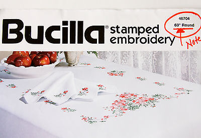 Bucilla ROUND Tablecloth Kit Includes Floss Geranium Stamped Embroidery Vtg 1992