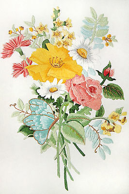 Vtg Crewel Floss Kit French Country Bouquet Picture Flower Floral Rose Candamar