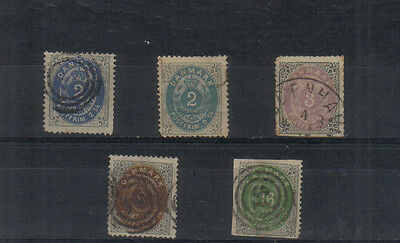 Denmark 1870-74 Five values to 16sk used