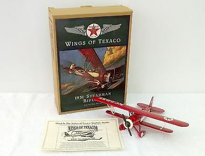 1931 Stearman Biplane Ertl Collectibles Wings of Texaco Diecast Coin Bank