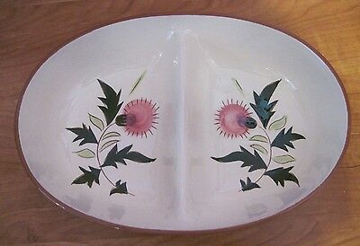 "Stangl Thistle Oval Divided Serving Dish Vegetable Bowl 10-3/4"" ~ Nice Condition"