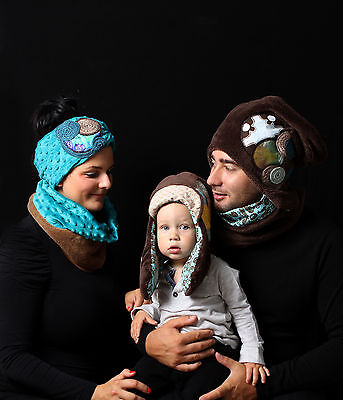 Man's brown hat and neck warmer