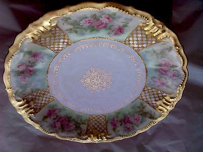 Beautiful Vintage Limoges Pink Roses Green Ground Plate Heavy gold Beaded