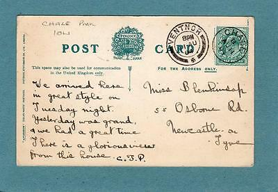 Chale IOW single circle Ventnor double circle postmark 1904 on Isle of Wight pc