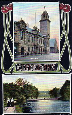 Clydebank Art Nouveau style unused old postcard Reliable Series
