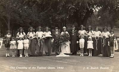 Crowning of Festival Queen 1933 Buxton unused RP pc J R Board