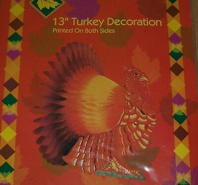 "NEW - 13"" Thanksgiving Honeycomb Turkey Centerpiece Decor"