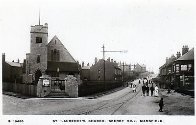 Mansfield Skerry Hill St Laurence's Church sepia unused RP old pc WHS Kingsway