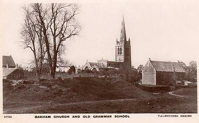 Oakham Church & Old Grammar School RP pc used 1915 Valentines XL