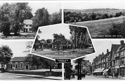 Purley Multi View Golf course  Nr Croydon RP old pc used 1951 RA Postcards