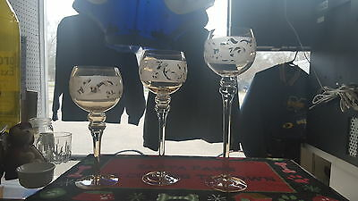3 vintage beautiful stair step candle holders glass