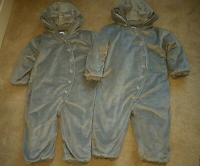La Redoute warm winter snow/ pram suits for twins. Age 2. Teddy ears. V cute!