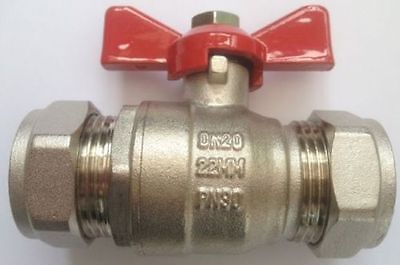 Butterfly Lever Handle Ball Valve 22Mm Red Handle Compression Full Bore