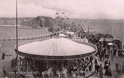 The Roundabout Fairground South Shore Blackpool unused old pc
