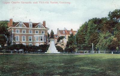 Upper Candie Grounds Victoria Statue Guernsey old pc used 1906 Boots Pelham
