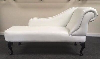 Chaise Longue in White Faux Leather Fabric NEW