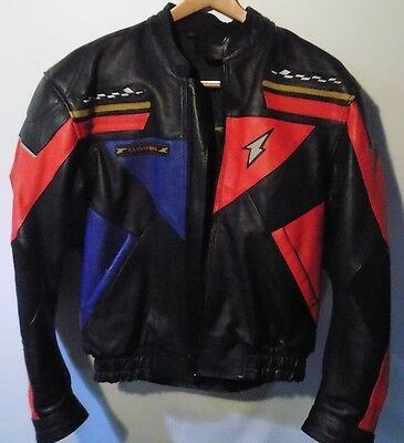 Richa Cannonball Motorcycle Leather Jacket  Htf  - Red/blue- Size 58