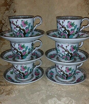 6 x Vintage 'Indian Tree' Pattern Cups & Saucers