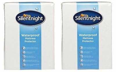 BNIP Silentnight Waterproof Single and Double bed white Mattress Protectors