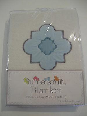 """Sumersault Boys Soft Little Prince Blanket 30"""" X 40"""" Blue and White"""