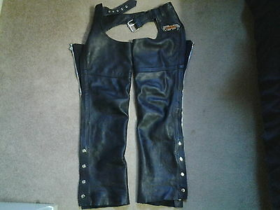 Motorcycle Leather Chaps With Harley Davidson Patch