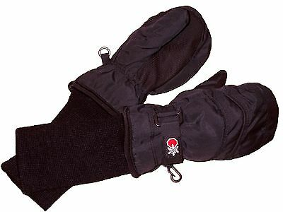 Snow Stoppers STAY-ON Nylon Mittens, Kids Size Large, Black