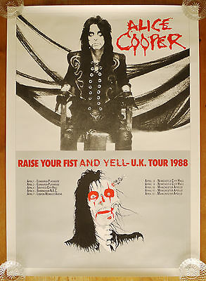 Vintage original Alice Cooper Raise You Fist And Yell UK Tour Poster 1988