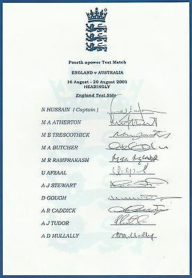 ENGLAND Test Squad 2001 autograph sheet... 11 printed signatures... Ashes Yorks
